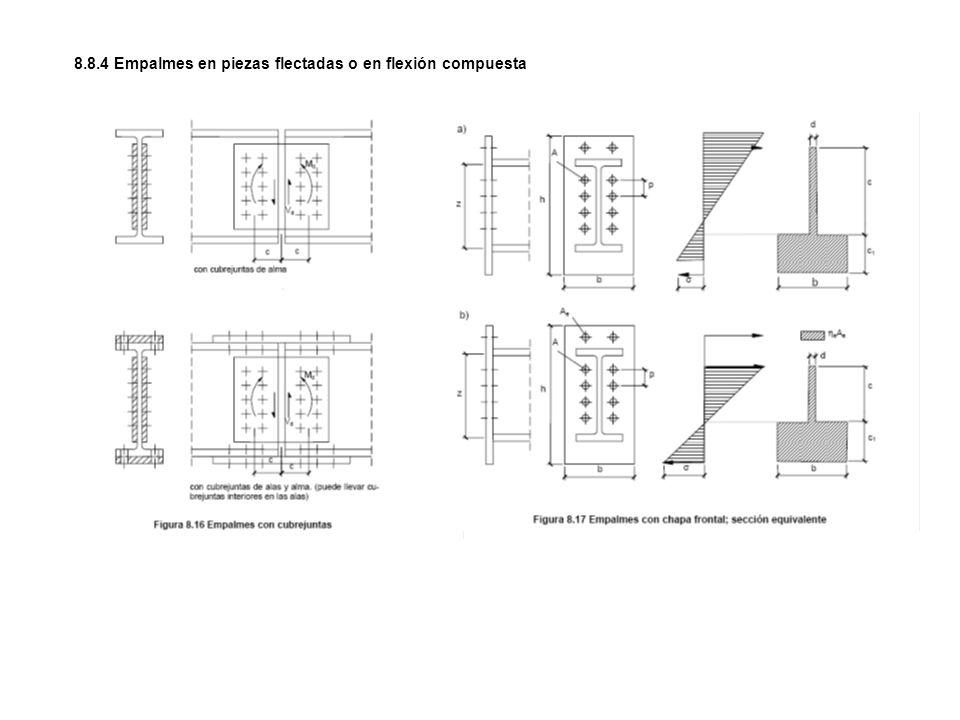 8.8.4 Empalmes en piezas flectadas o en flexión compuesta