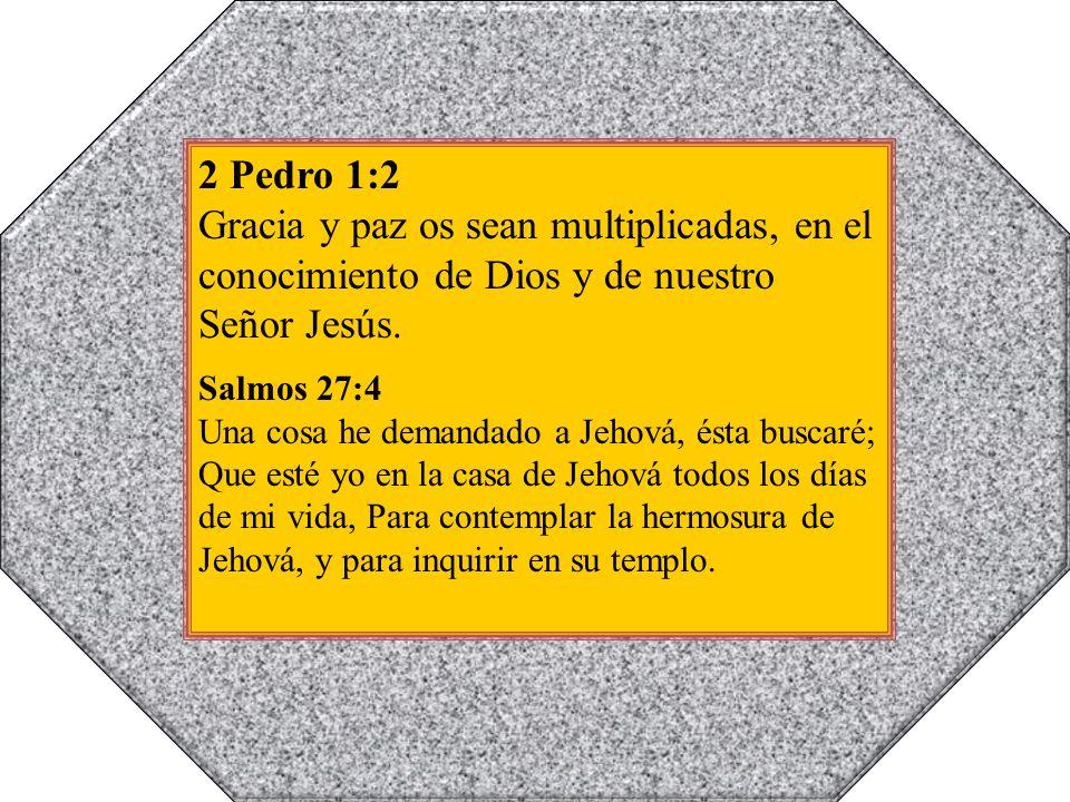 2 Pedro 1:2 Gracia y paz os sean multiplicadas, en el conocimiento de Dios y de nuestro Señor Jesús.