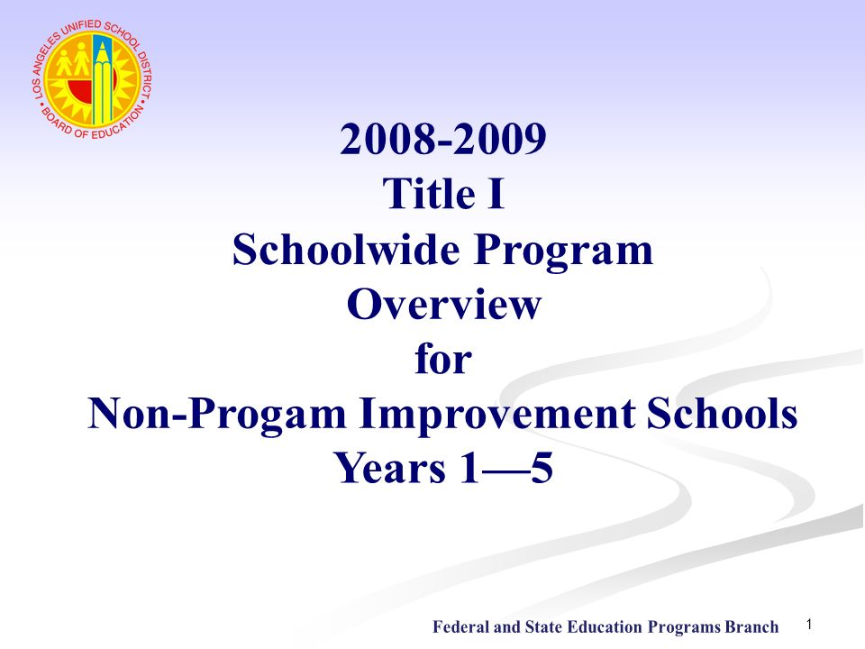 Non-Progam Improvement Schools Years 1—5