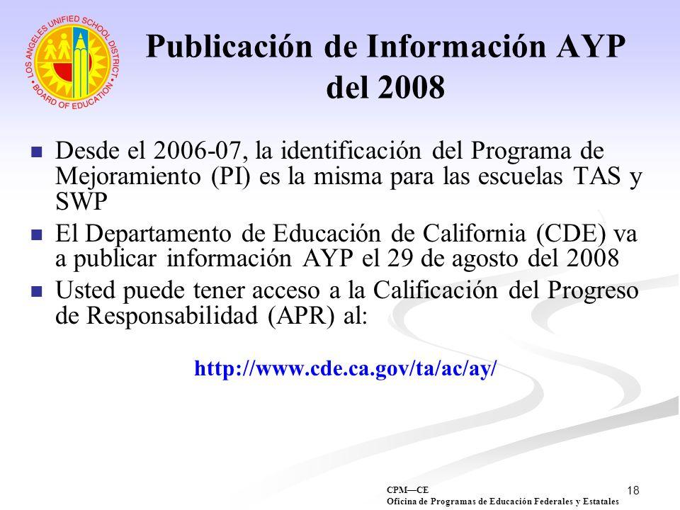 Publicación de Información AYP del 2008