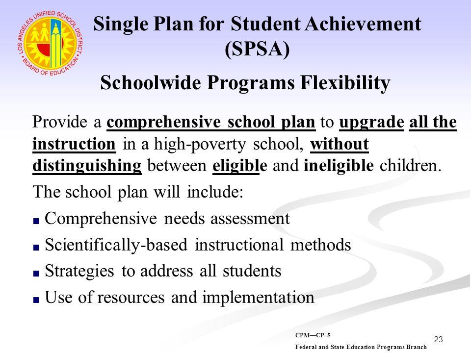 Single Plan for Student Achievement Schoolwide Programs Flexibility