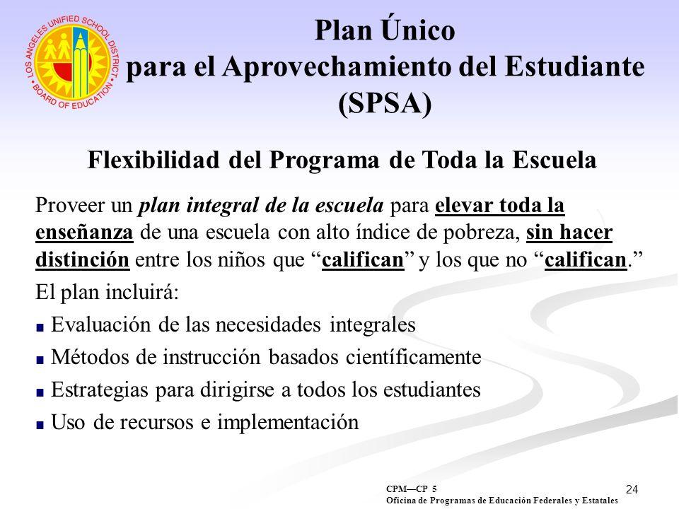 Plan Único para el Aprovechamiento del Estudiante (SPSA)