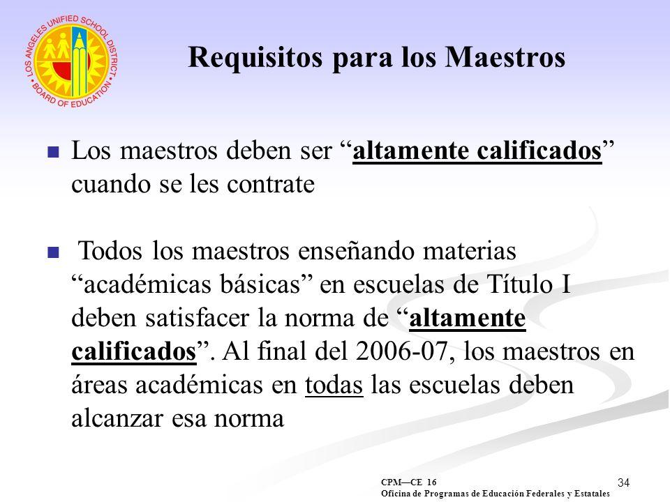 Requisitos para los Maestros