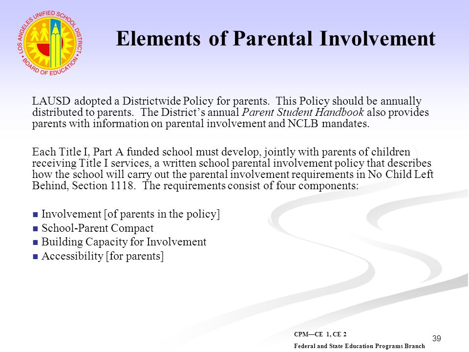 Elements of Parental Involvement