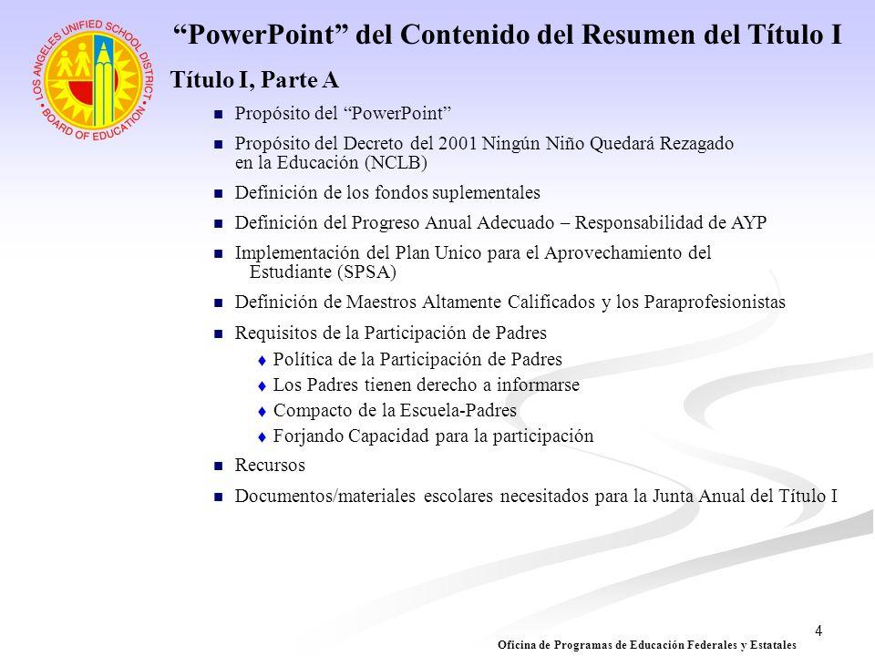 PowerPoint del Contenido del Resumen del Título I