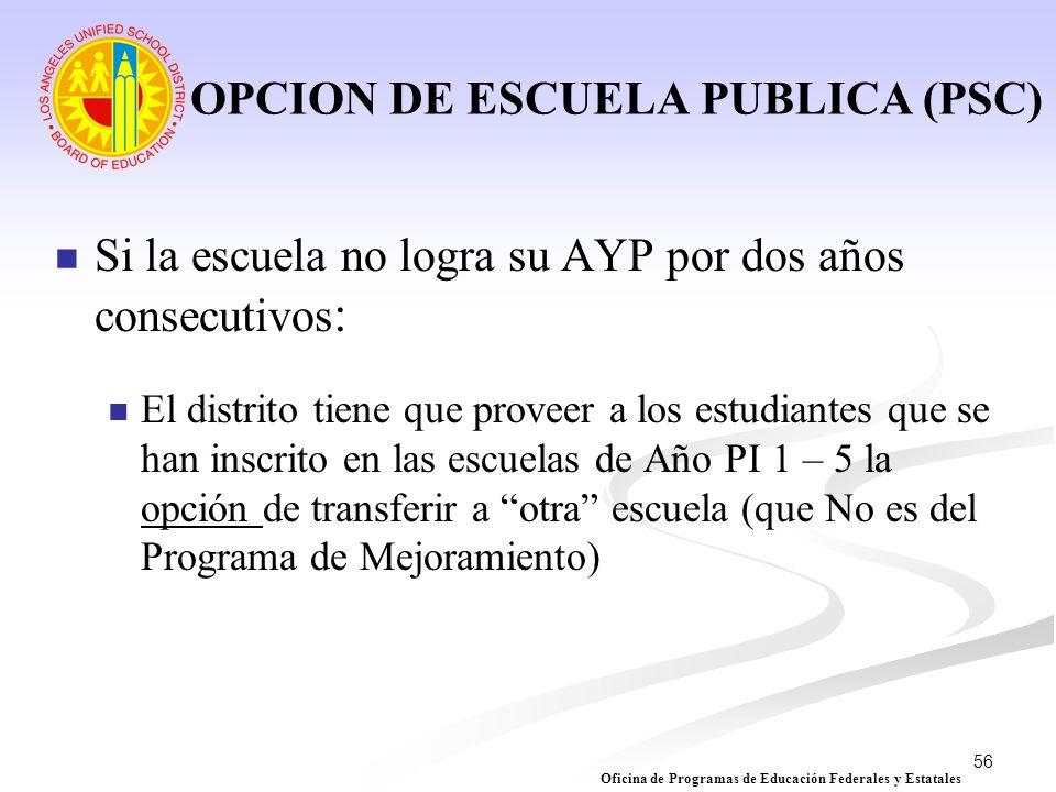 OPCION DE ESCUELA PUBLICA (PSC)