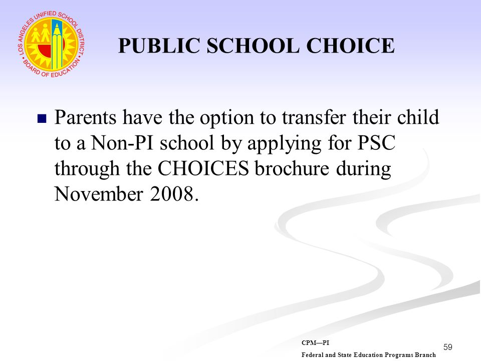 PUBLIC SCHOOL CHOICE