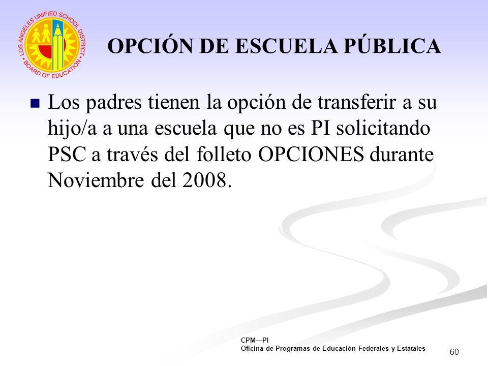 OPCIÓN DE ESCUELA PÚBLICA
