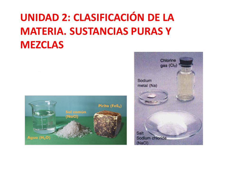 UNIDAD 2: CLASIFICACIÓN DE LA MATERIA. SUSTANCIAS PURAS Y MEZCLAS