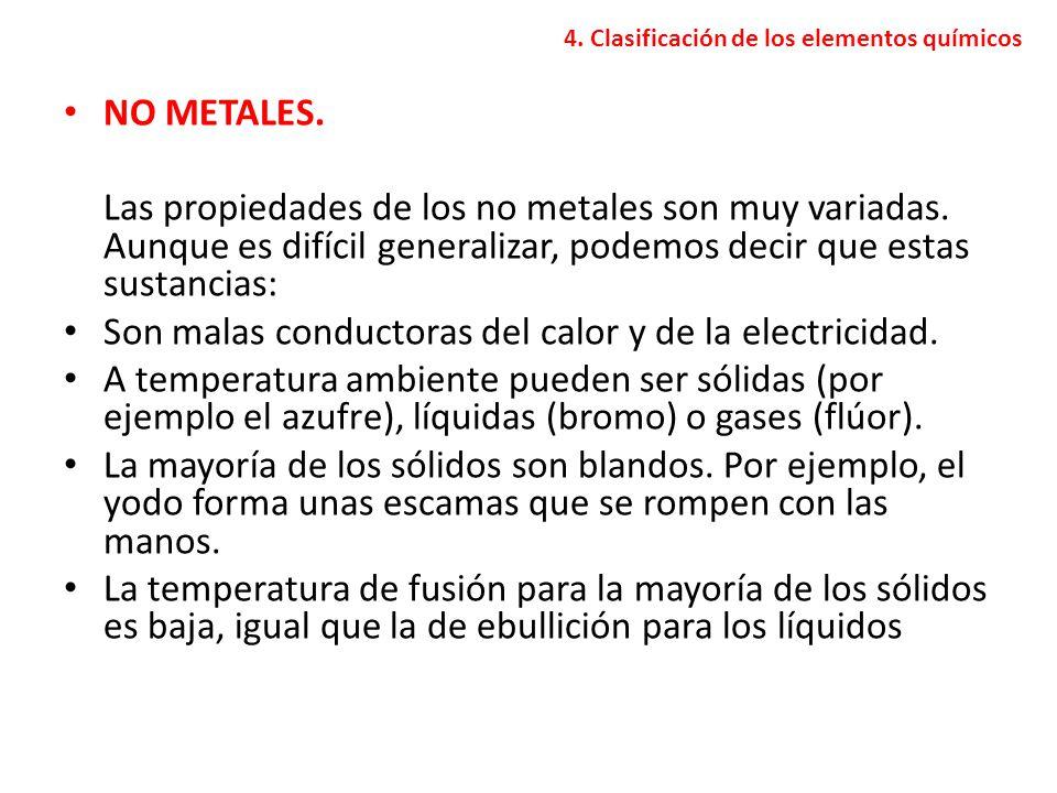 4. Clasificación de los elementos químicos