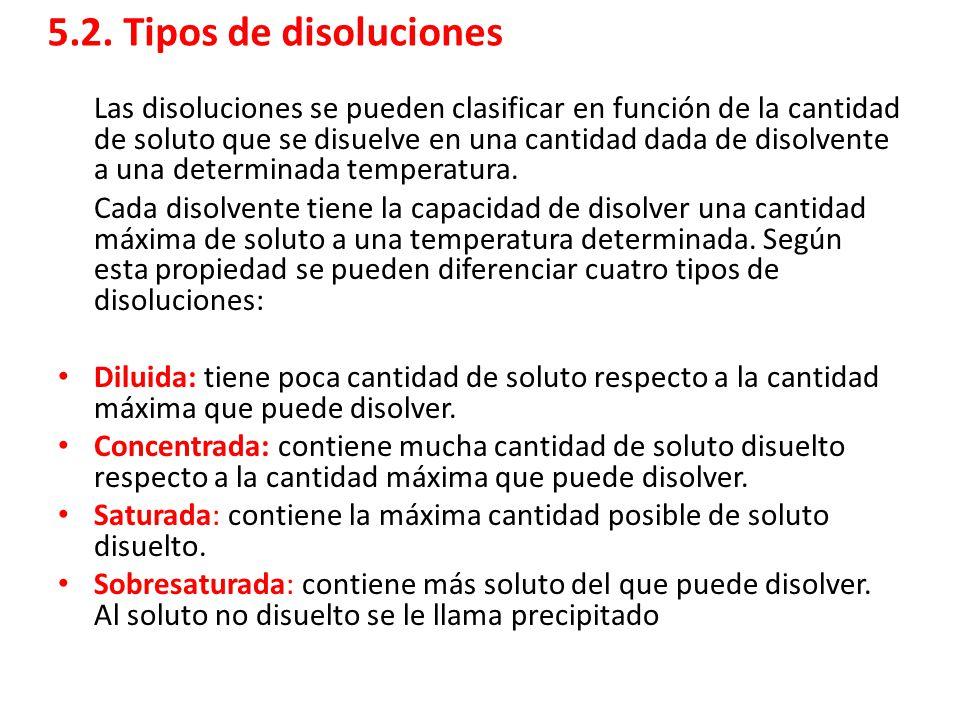 5.2. Tipos de disoluciones