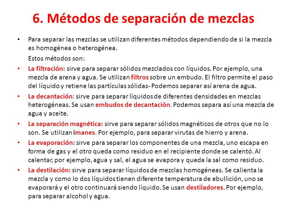 6. Métodos de separación de mezclas