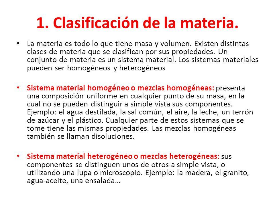 1. Clasificación de la materia.