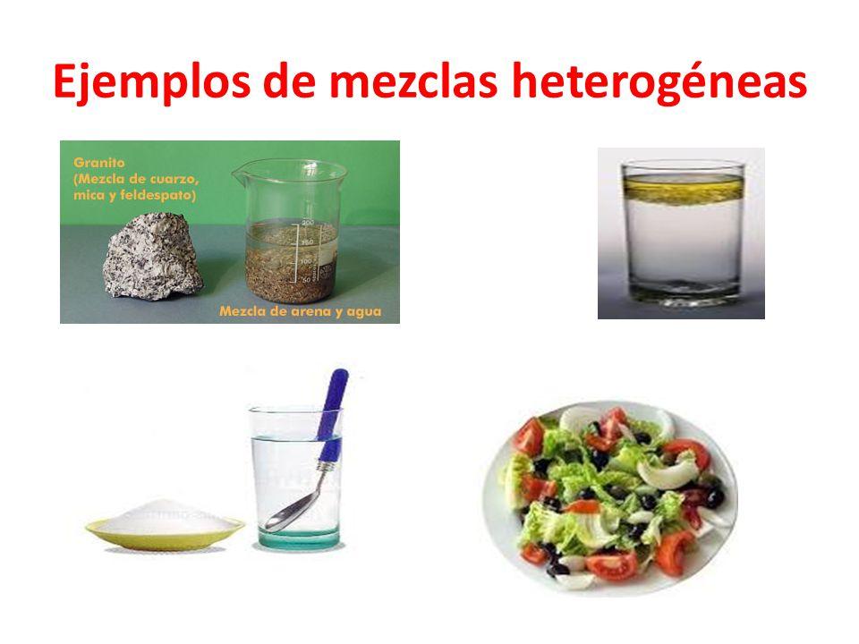 Ejemplos de mezclas heterogéneas