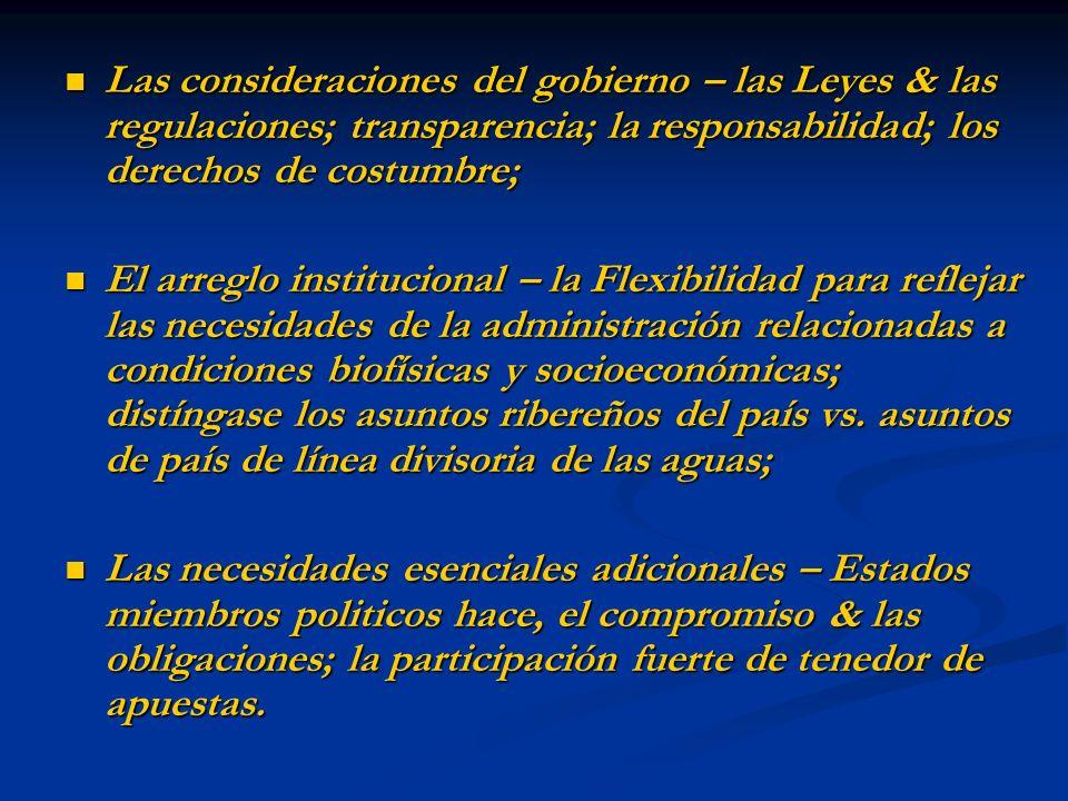 Las consideraciones del gobierno – las Leyes & las regulaciones; transparencia; la responsabilidad; los derechos de costumbre;