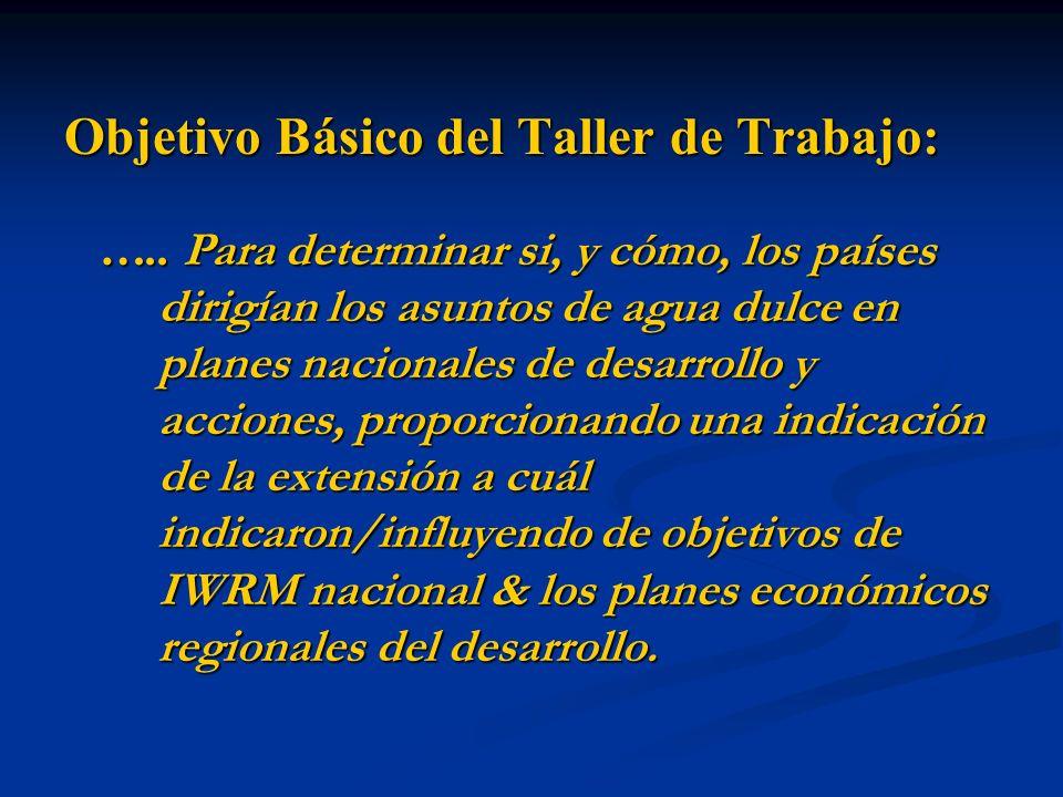 Objetivo Básico del Taller de Trabajo: