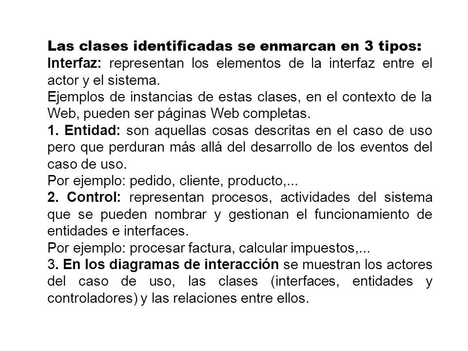 Las clases identificadas se enmarcan en 3 tipos: