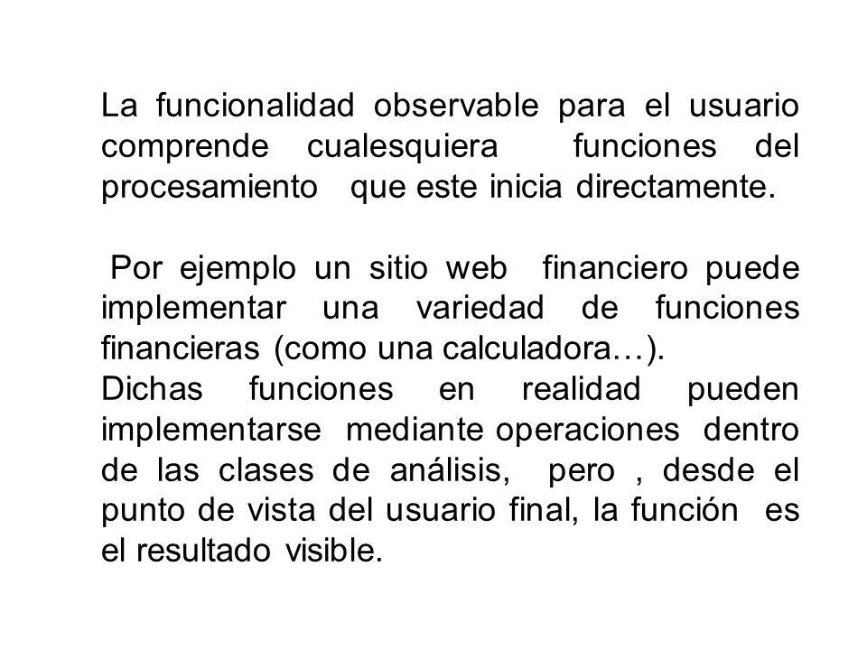 La funcionalidad observable para el usuario comprende cualesquiera funciones del procesamiento que este inicia directamente.
