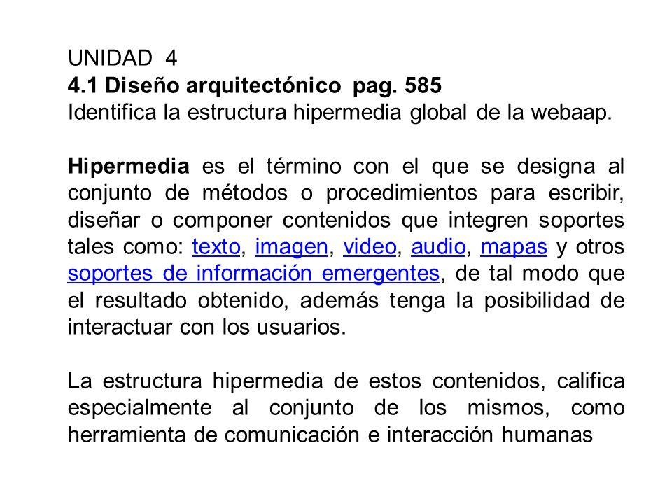 UNIDAD 4 4.1 Diseño arquitectónico pag. 585. Identifica la estructura hipermedia global de la webaap.
