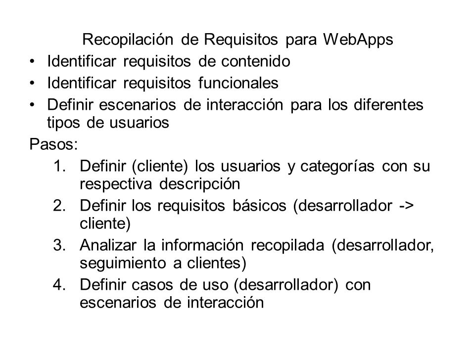 Recopilación de Requisitos para WebApps