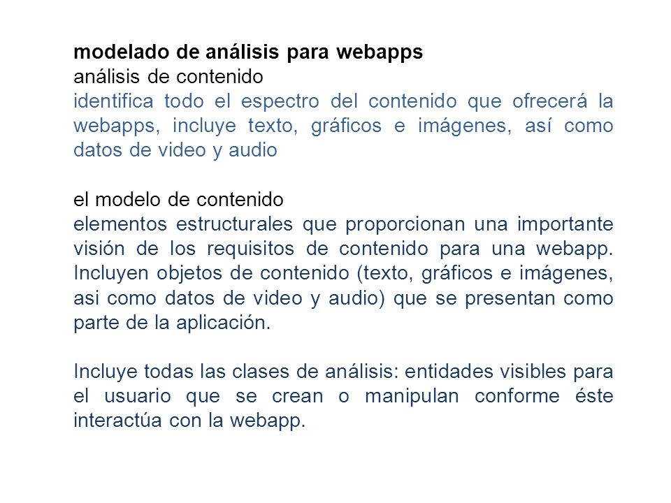 modelado de análisis para webapps