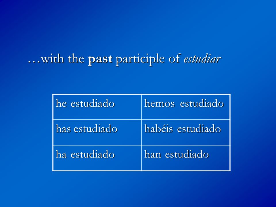 …with the past participle of estudiar