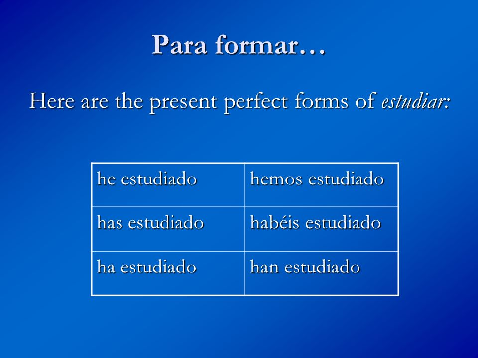 Para formar… Here are the present perfect forms of estudiar: