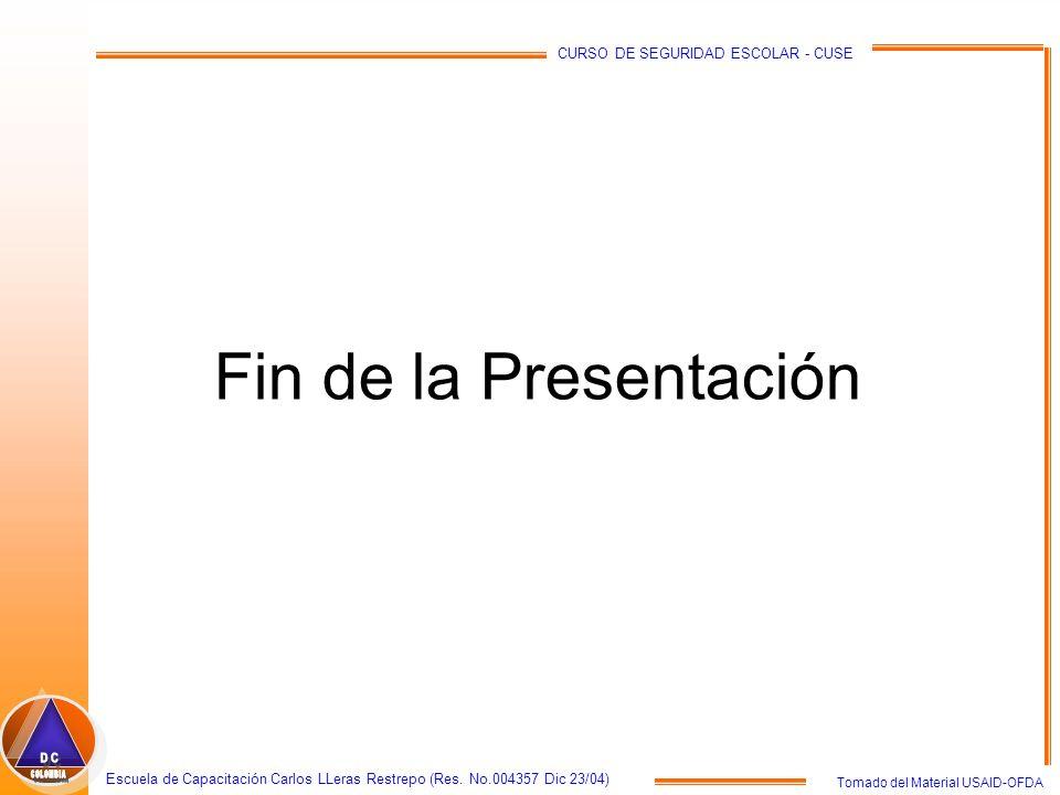 Fin de la Presentación COLOMBIA DC