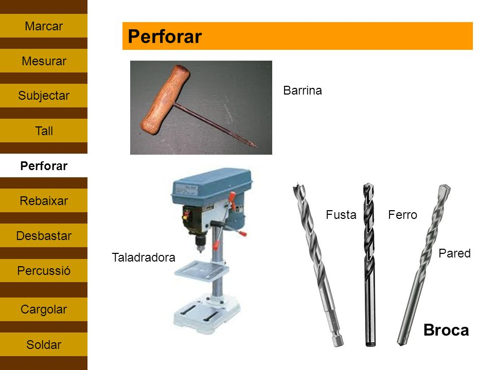 Perforar Broca Marcar Mesurar Barrina Subjectar Tall Perforar Rebaixar