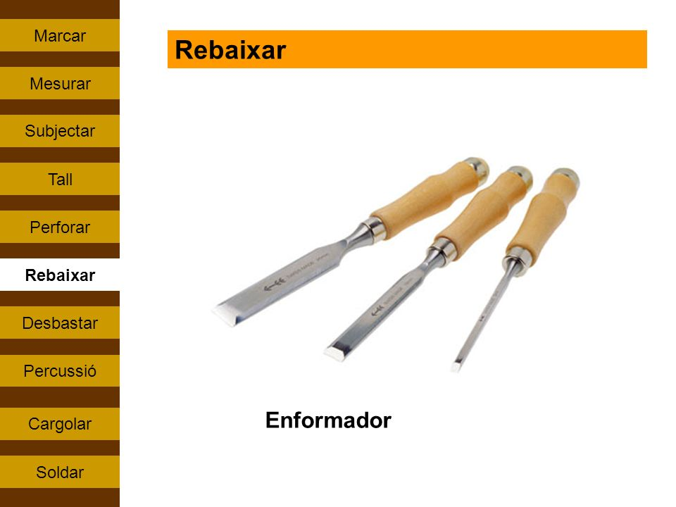 Rebaixar Enformador Marcar Mesurar Subjectar Tall Perforar Rebaixar