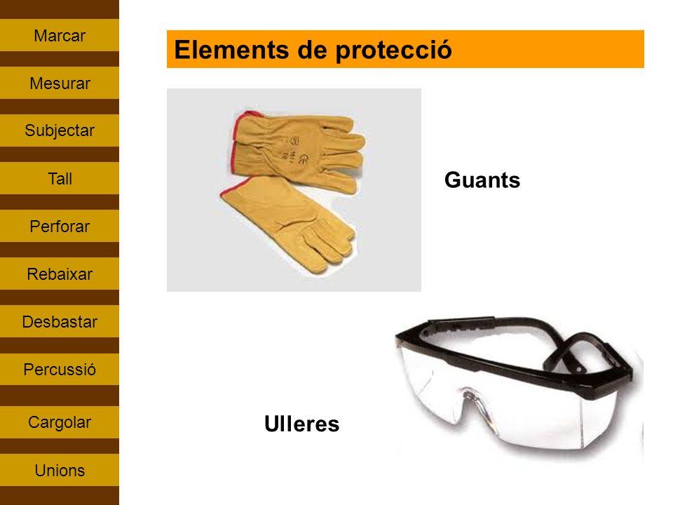 Elements de protecció Guants Ulleres Marcar Mesurar Subjectar Tall