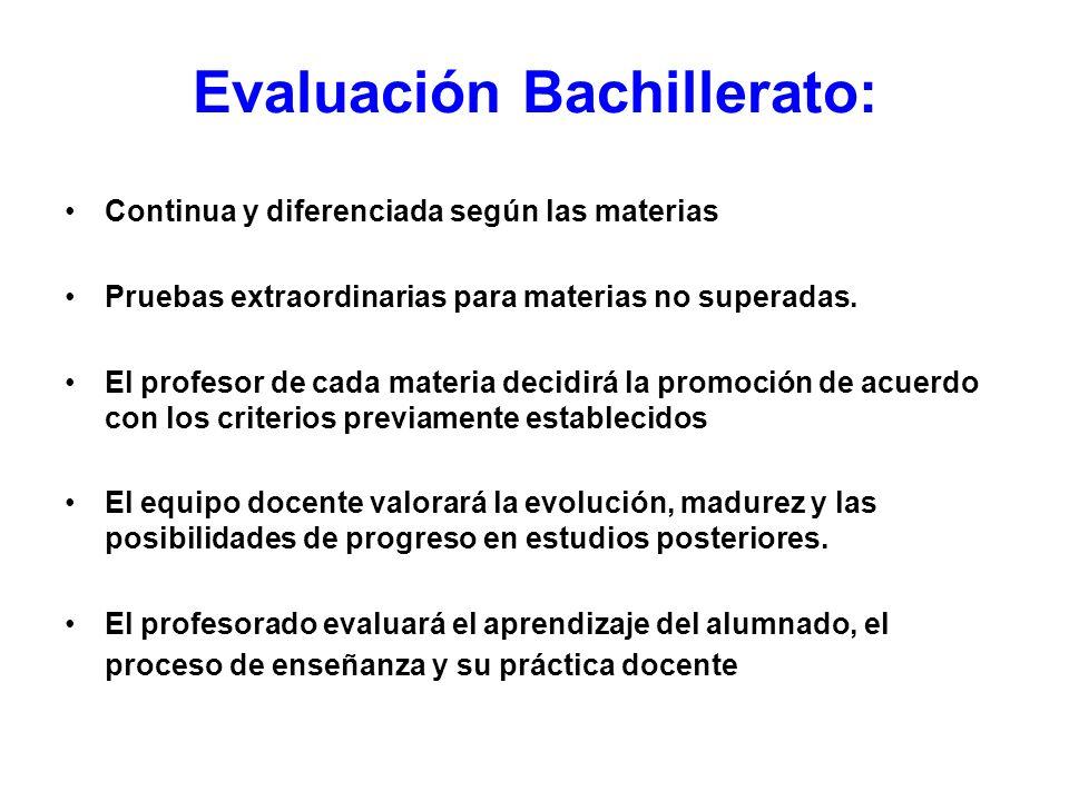 Evaluación Bachillerato: