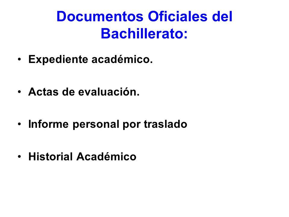 Documentos Oficiales del Bachillerato: