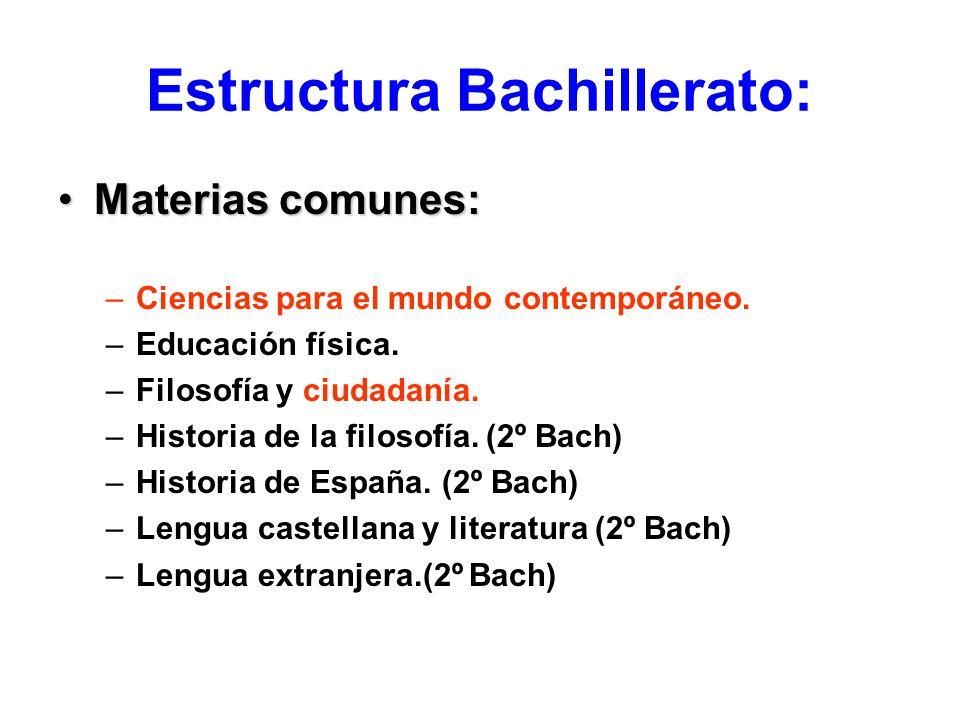 Estructura Bachillerato:
