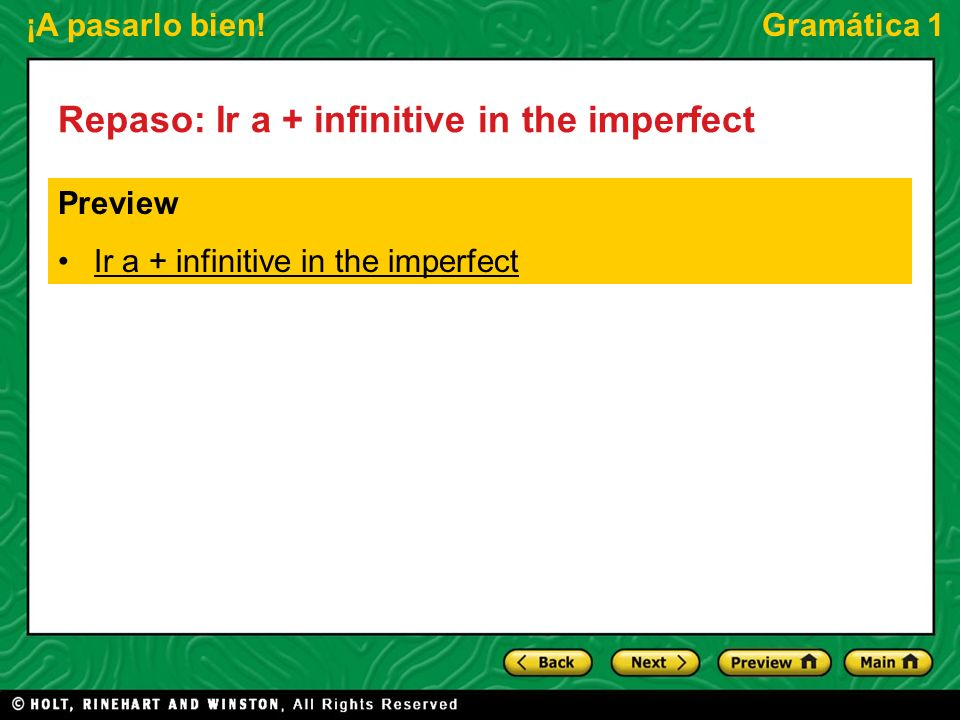 Repaso: Ir a + infinitive in the imperfect