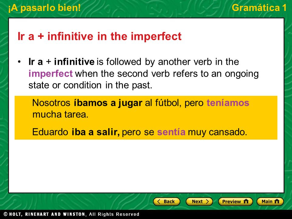 Ir a + infinitive in the imperfect