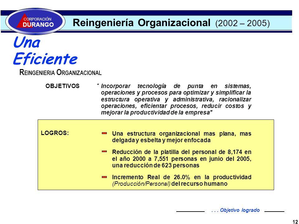 Una Eficiente Reingeniería Organizacional (2002 – 2005)