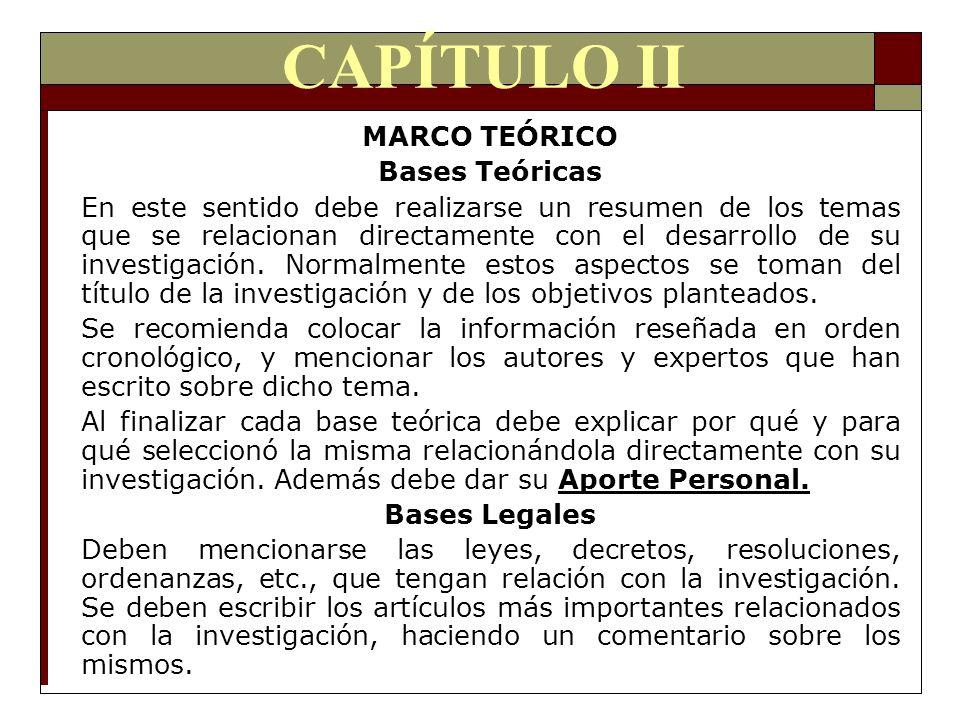 CAPÍTULO II MARCO TEÓRICO Bases Teóricas