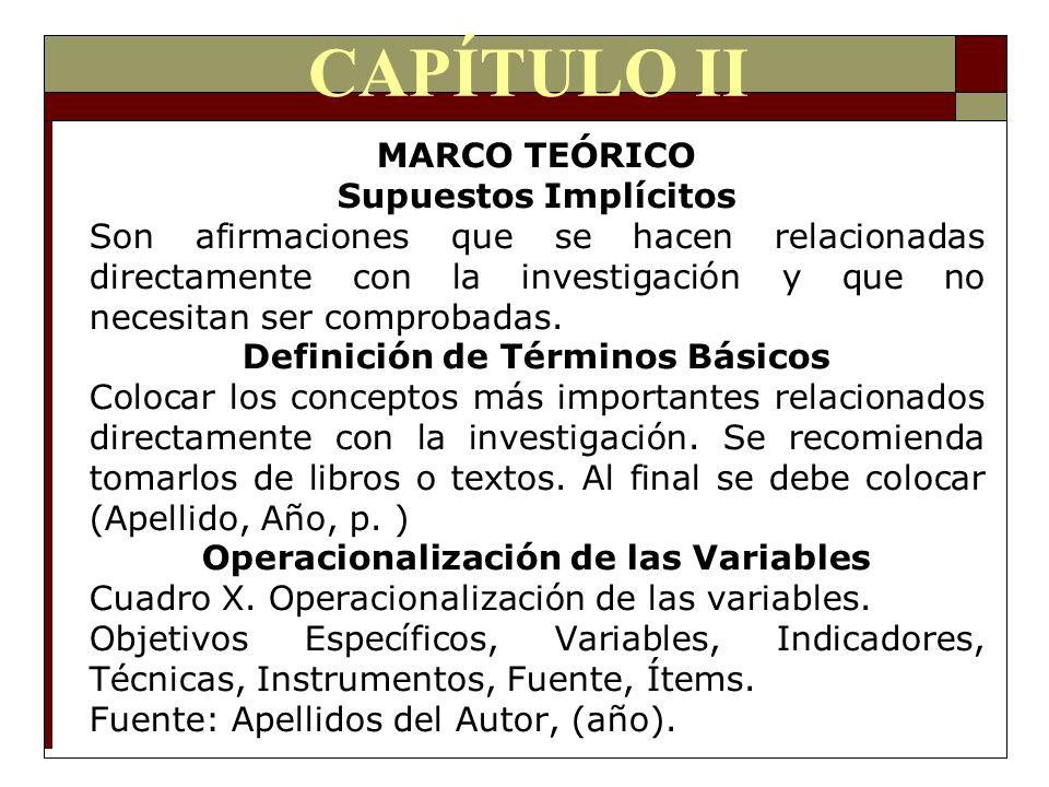 CAPÍTULO II MARCO TEÓRICO Supuestos Implícitos