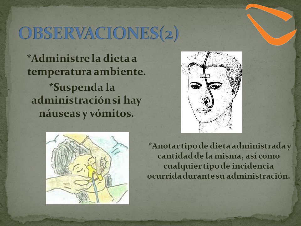 OBSERVACIONES(2) *Administre la dieta a temperatura ambiente.