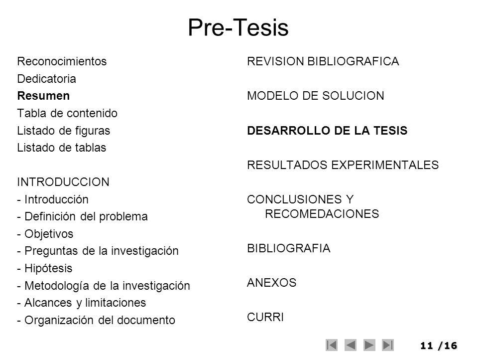 Pre-Tesis Reconocimientos Dedicatoria Resumen Tabla de contenido