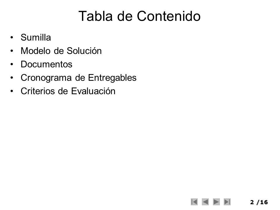 Tabla de Contenido Sumilla Modelo de Solución Documentos