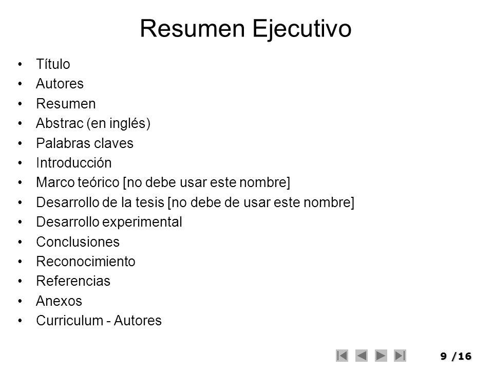 Resumen Ejecutivo Título Autores Resumen Abstrac (en inglés)
