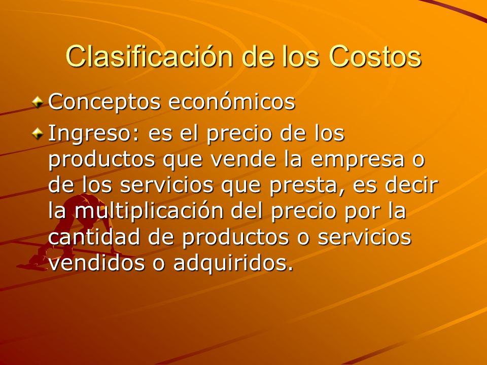 Clasificación de los Costos