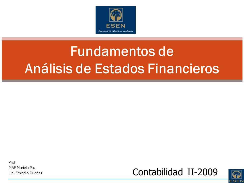 Fundamentos de Análisis de Estados Financieros