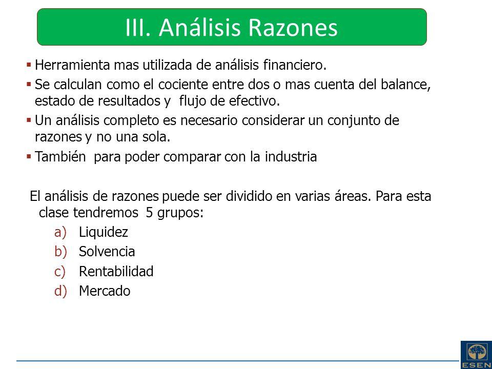 III. Análisis RazonesHerramienta mas utilizada de análisis financiero.