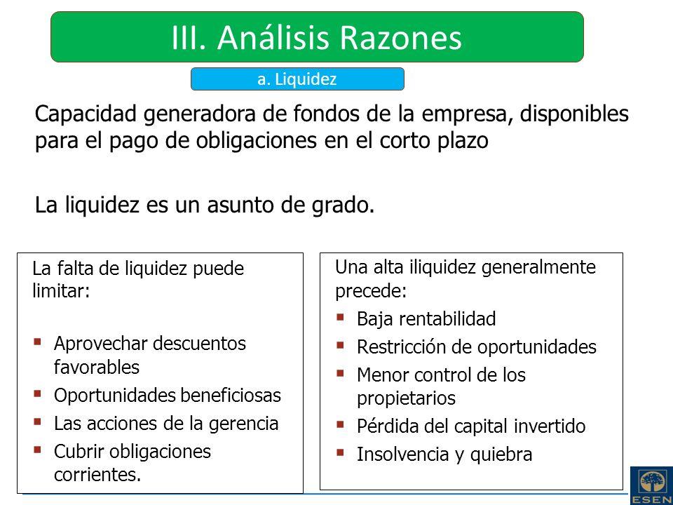 III. Análisis Razones a. Liquidez. Capacidad generadora de fondos de la empresa, disponibles para el pago de obligaciones en el corto plazo.
