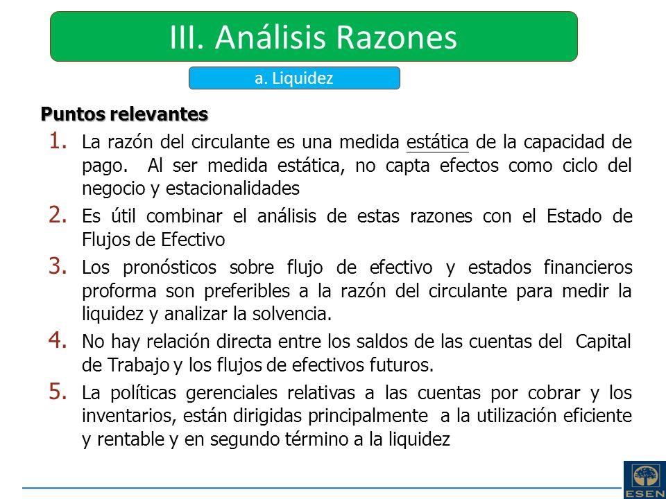 III. Análisis Razones a. Liquidez Puntos relevantes