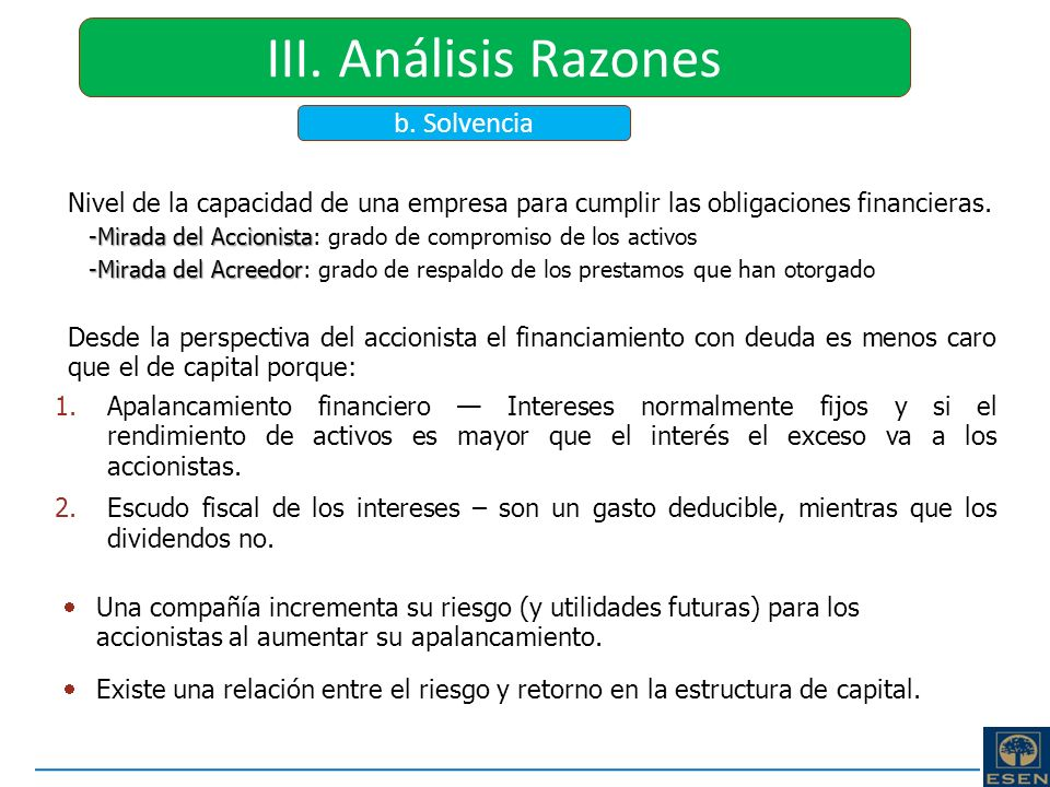 III. Análisis Razones b. Solvencia