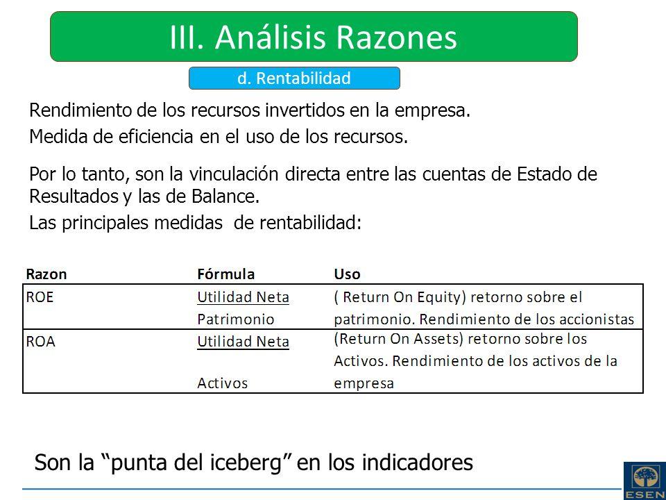 III. Análisis Razones Son la punta del iceberg en los indicadores
